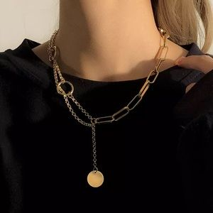 NEW 18K GOLD COIN LONG TASSEL CHAIN NECKLACE